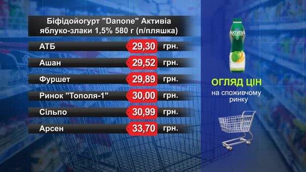 Біфідойогурт Danone Активіа яблуко-злаки 1,5%. Огляд цін у львівських супермаркетах за 27 грудня