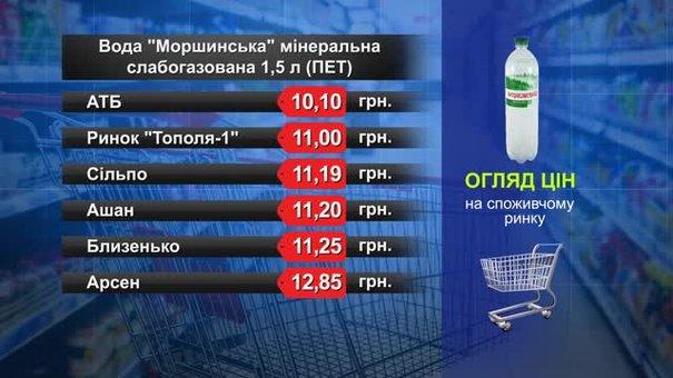 Вода «Моршинська»мінеральна слабогазована. Огляд цін у львівських супермаркетах за 28 грудня