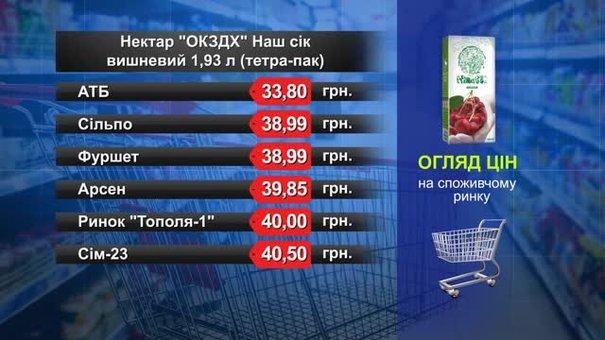 Нектар «ОКЗДХ» Наш сік вишня. Огляд цін у львівських супермаркетах за 25 січня