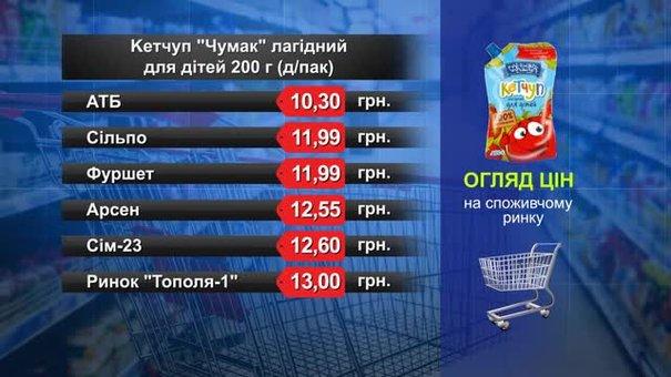 Кетчуп «Чумак»лагідний для дітей. Огляд цін у львівських супермаркетах за 14 лютого