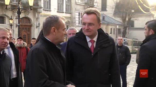 Голова Європейської Ради Дональд Туск розпочав свій візит до Львова з відвідин Ратуші