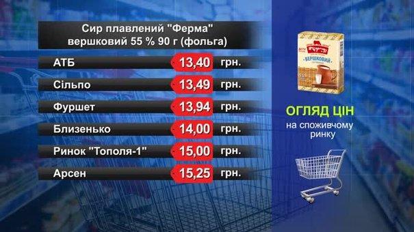 Сир плавлений «Ферма». Огляд цін у львівських супермаркетах за 26 березня