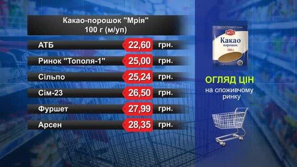 Какао-порошок «Мрія». Огляд цін у львівських супермаркетах за 5 квітня