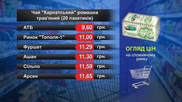 Чай «Карпатський» трав'яний. Огляд цін у львівських супермаркетах за 9 квітня