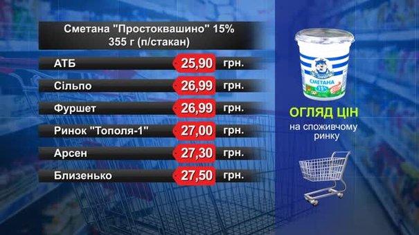 Сметана «Простоквашино». Огляд цін у львівських супермаркетах за 2 травня