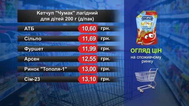 Кетчуп «Чумак» лагідний для дітей. Огляд цін у львівських супермаркетах за 14 травня