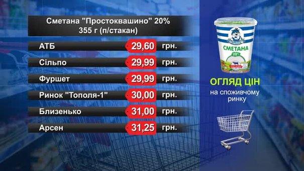 Сметана «Простоквашино». Огляд цін у львівських супермаркетах за 17 травня