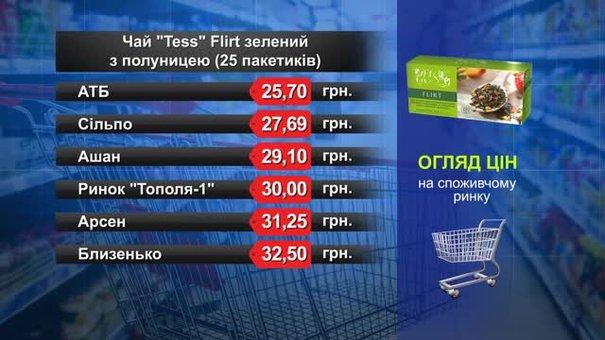 Чай Tess Flirt зелений з полуницею. Огляд цін у львівських супермаркетах за 22 травня