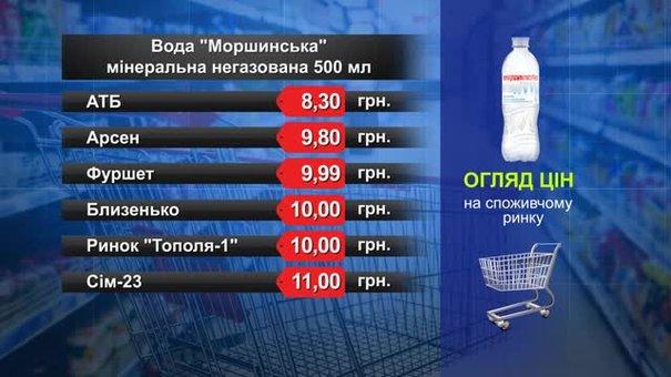 Вода «Моршинська» негазована. Огляд цін у львівських супермаркетах за 26 червня
