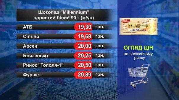 Шоколад Millennium білий. Огляд цін у львівських супермаркетах за 23 липня