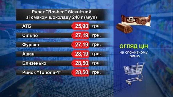 Рулет Roshen бісквітний. Огляд цін у львівських супермаркетах за 25 липня
