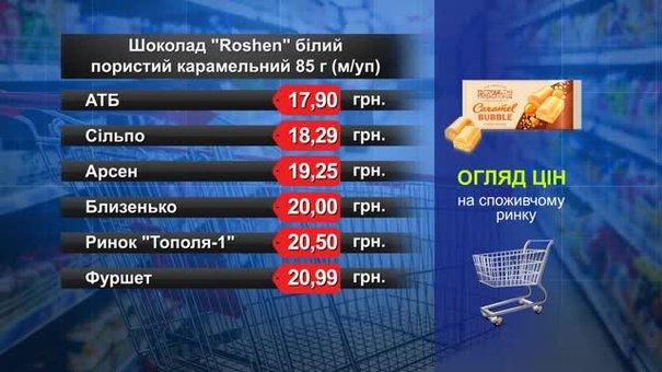 Шоколад Roshen. Огляд цін у львівських супермаркетах за 29 липня