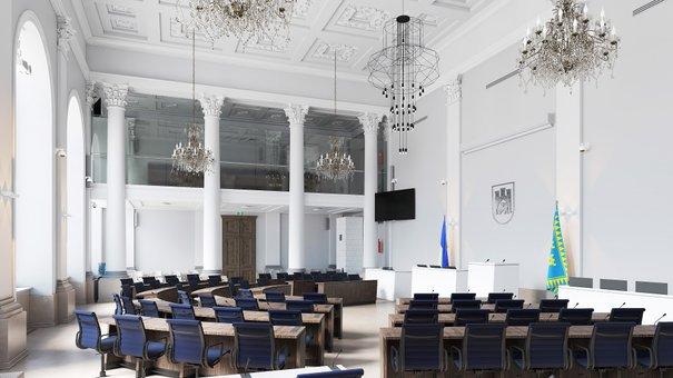 Сесійній залі львівської Ратуші повернуть вигляд парламенту