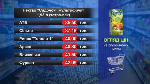 Нектар «Садочок» мультифрукт. Огляд цін у львівських супермаркетах за 27 серпня