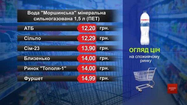 Вода «Моршинська» мінеральна сильногазована. Огляд цін у львівських супермаркетах за 16 вересня