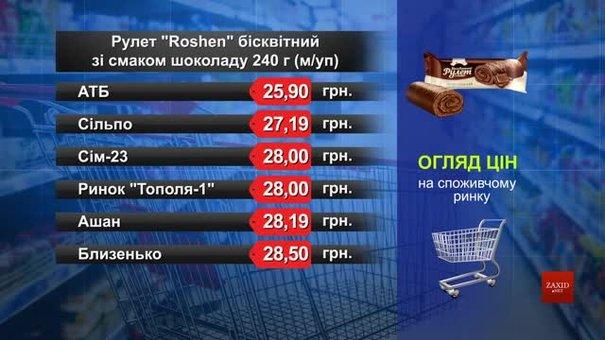 Рулет Roshen бісквітний. Огляд цін у львівських супермаркетах за 23 вересня