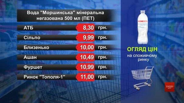 Вода «Моршинська» мінеральна негазована. Огляд цін у львівських супермаркетах за 24 вересня