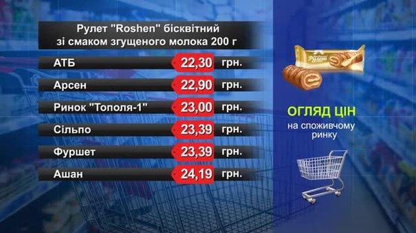 Рулет Roshen бісквітний. Огляд цін у львівських супермаркетах за 21 жовтня