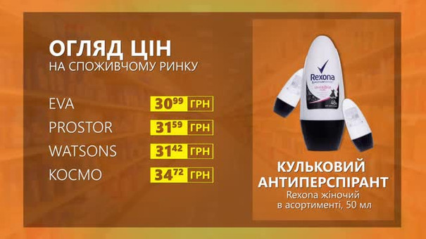 Огляд цін на кульковий антиперспірант Rexona у мережевих магазинах