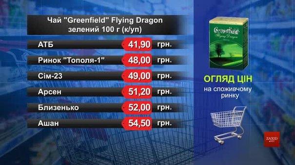 Чай Greenfield зелений. Огляд цін у львівських супермаркетах за 11 січня