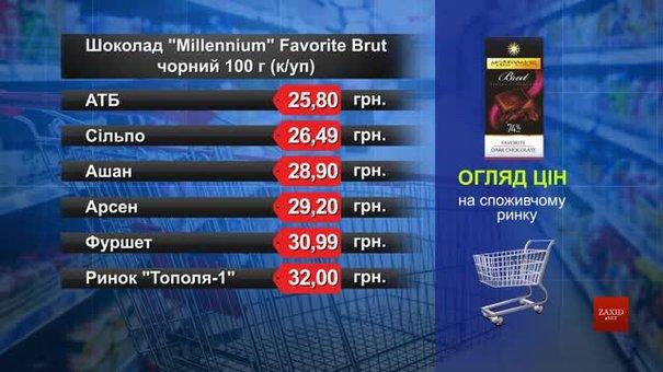Шоколад Millennium чорний. Огляд цін у львівських супермаркетах за 31 січня