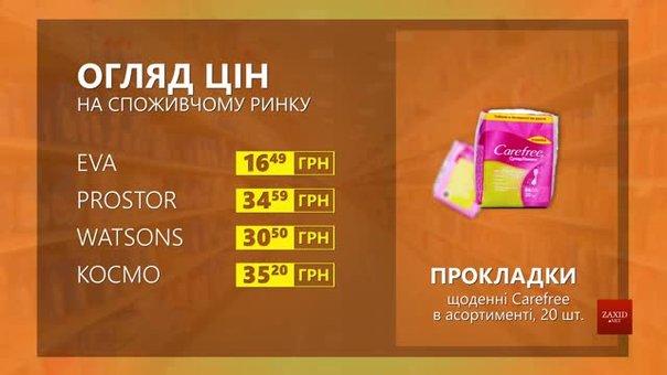 Огляд цін на прокладки Carefree у мережевих магазинах