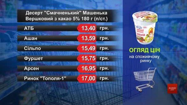 Десерт «Смачненький» Машенька. Огляд цін у львівських супермаркетах за 4 березня