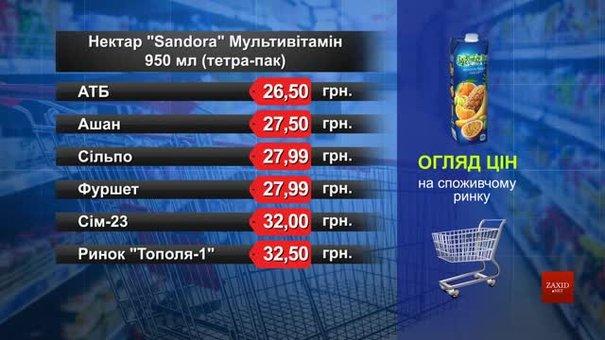 Нектар Sandora мультивітамін. Огляд цін у львівських супермаркетах за 10 березня
