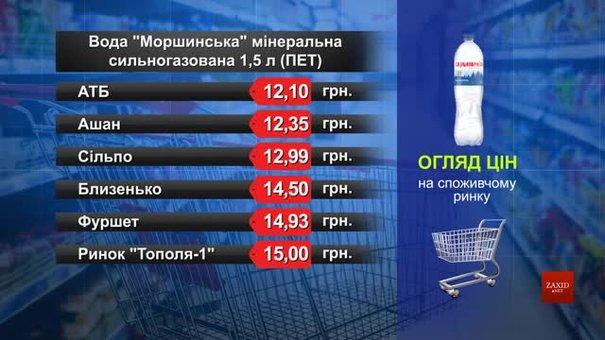 Вода «Моршинська» мінеральна сильногазована. Огляд цін у львівських супермаркетах за 11 березня
