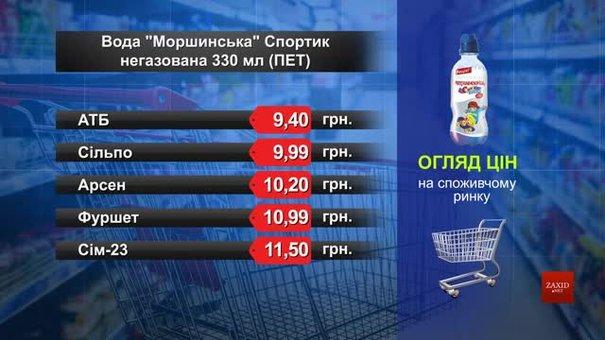 Вода «Моршинська» мінеральна Спортик. Огляд цін у львівських супермаркетах за 7 квітня