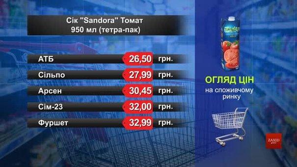Нектар Sandora томат. Огляд цін у львівських супермаркетах за 8 квітня