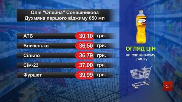 Олія «Олейна» соняшникова. Огляд цін у львівських супермаркетах за 16 квітня