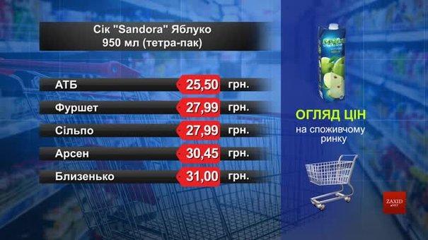 Нектар Sandora яблуко. Огляд цін у львівських супермаркетах за 30 квітня