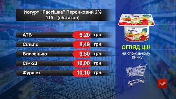 Йогурт «Растішка» персиковий. Огляд цін у львівських супермаркетах за 5 червня