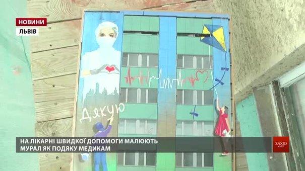У Львові на стіні будівлі лікарні швидкої допомоги малюють мурал у подяку медикам