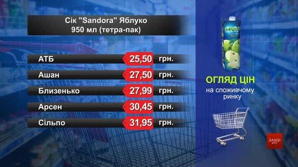 Нектар Sandora яблуко. Огляд цін у львівських супермаркетах за 17 червня