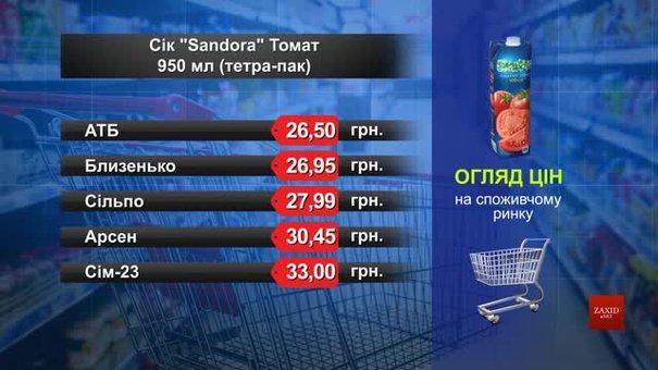 Нектар Sandora томат. Огляд цін у львівських супермаркетах за 22 червня