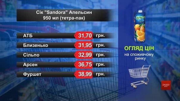 Нектар Sandora апельсин. Огляд цін у львівських супермаркетах за 24 червня