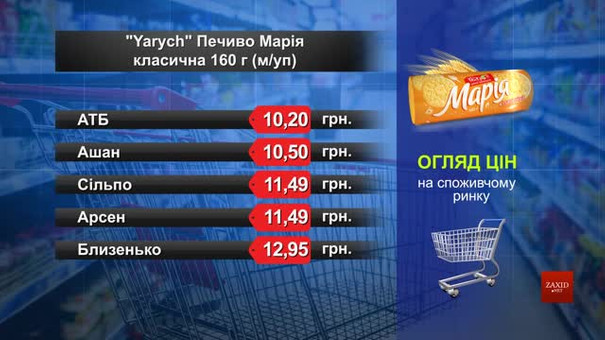 Yarych печиво «Марія». Огляд цін у львівських супермаркетах за 23 липня