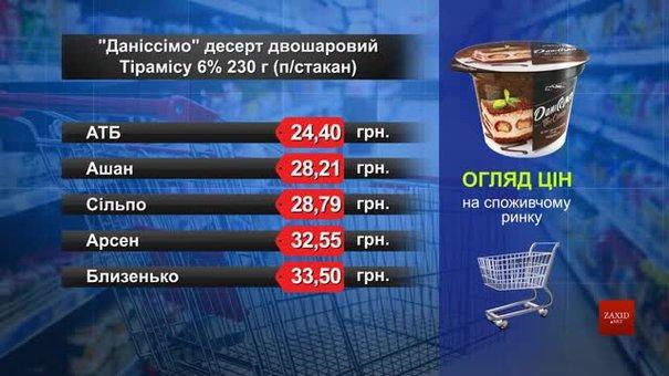 Десерт «Даніссімо» тірамісу.  Огляд цін у львівських супермаркетах за 3 серпня