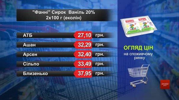 Сирок «Фанні» ваніль. Огляд цін у львівських супермаркетах за 26 серпня