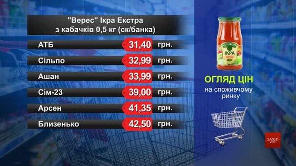 Ікра «Верес Екстра» з кабачків. Огляд цін у львівських супермаркетах за 27 серпня