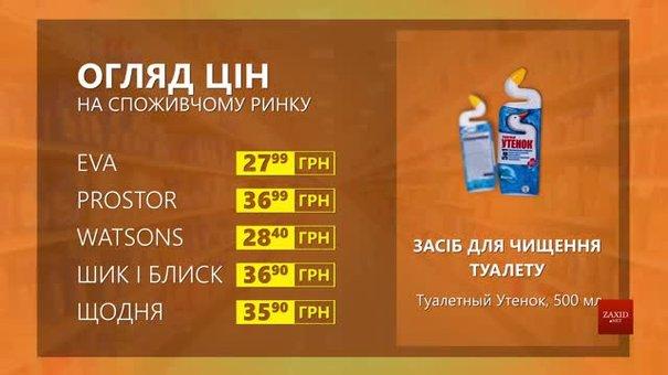 Огляд цін на засіб для чищення туалету «Туалетный Утенок» у мережевих магазинах