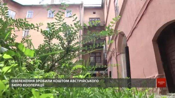 У дворику львівського мистецького центру облаштували зелені острівці