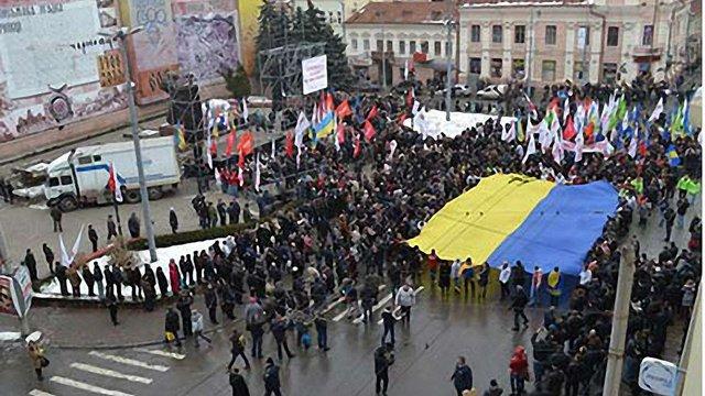 Міліція побачила на мітингу опозиції в Чернівцях 1,5 тисячі осіб