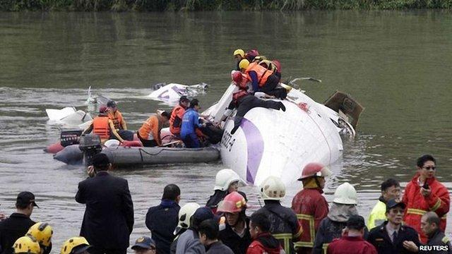 На Тайвані пасажирський літак впав у річку посеред міста (відео)