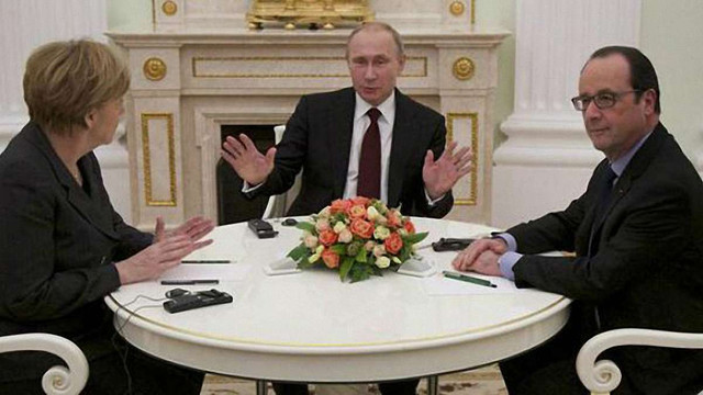 В Москві закінчилися переговори Путіна з Ангелою Меркель і Франсуа Олландом щодо України