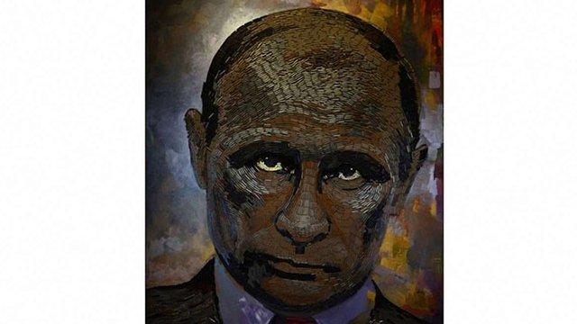 Українська художниця склала потрет  Путіна з гільз