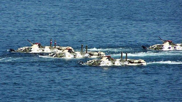 У Каспійському морі затонули чотири БТР російського виробництва з екіпажами