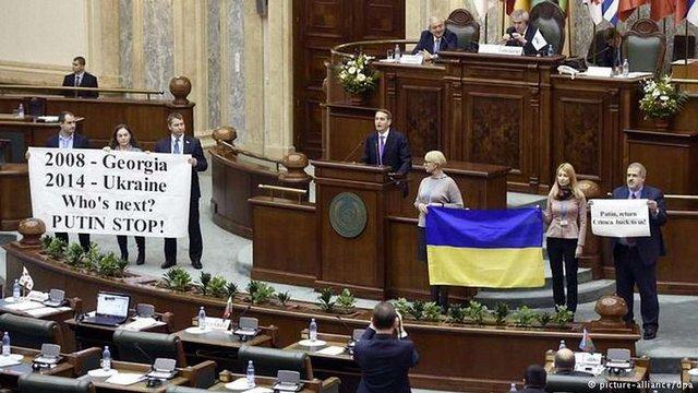 Українська делегація влаштувала протест  у Бухаресті проти виступу спікера російської Держдуми